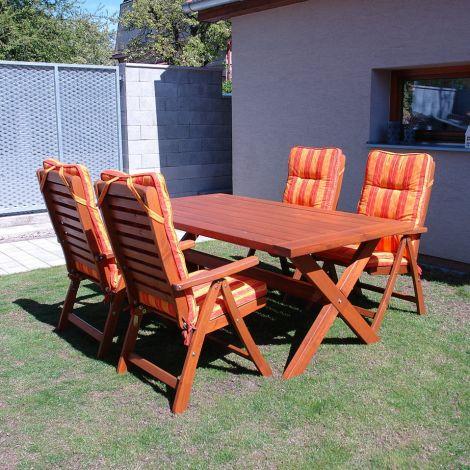 Dřevěný zahradní nábytek jídelní set SOLBERGA BOX Carrot