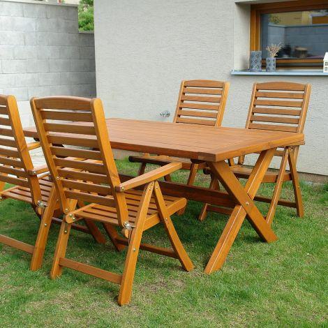 Dřevěný zahradní nábytek jídelní set SOLBERGA