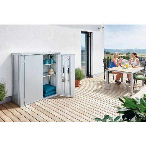 Skříňka na balkón Biohort ROMEO stříbrná