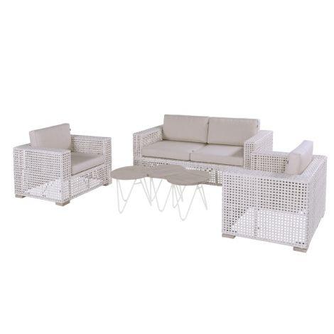 Zahradní nábytek umělý ratan sofa set Hartman YANET MOON Ivory wash